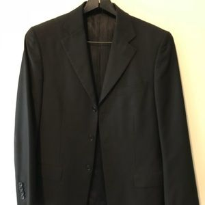 Valenti Three Button Black Suit